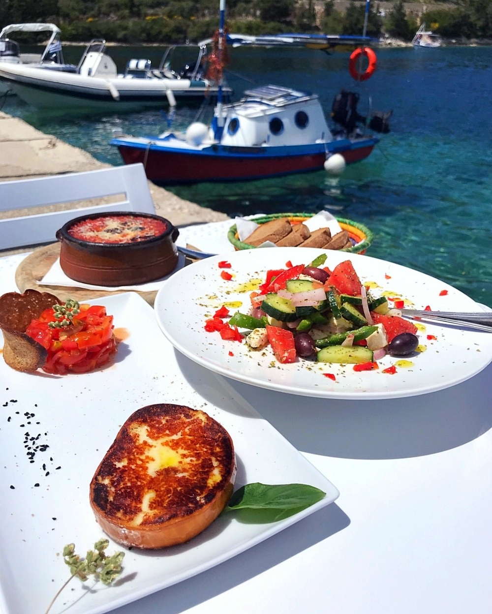 Lunch at Carnayo Gold at Mongonissi bay in Paxos Photo Heatheronhertravels.com