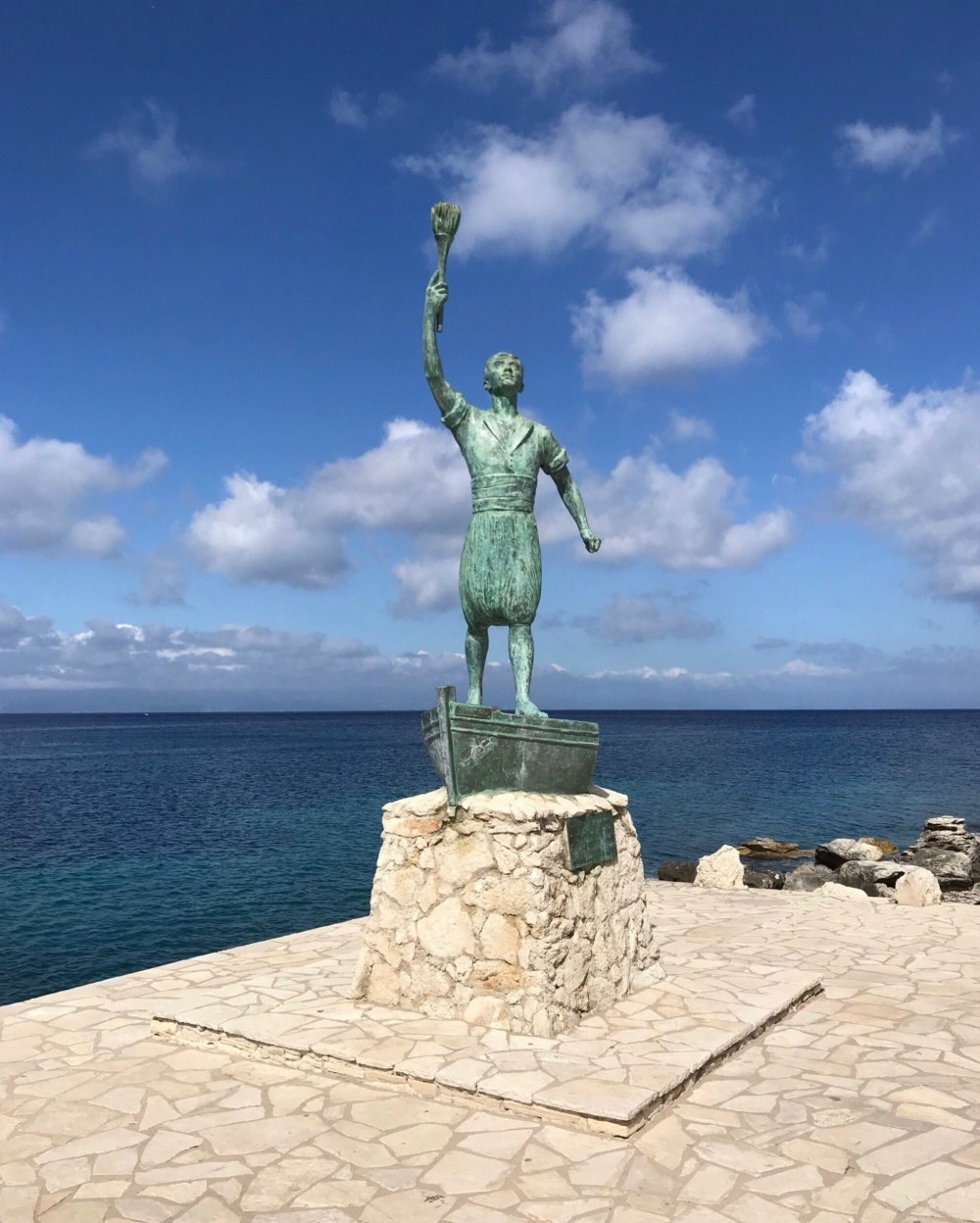 Statue in Gaios in Paxos Greece Photo Heatheronhertravels.com