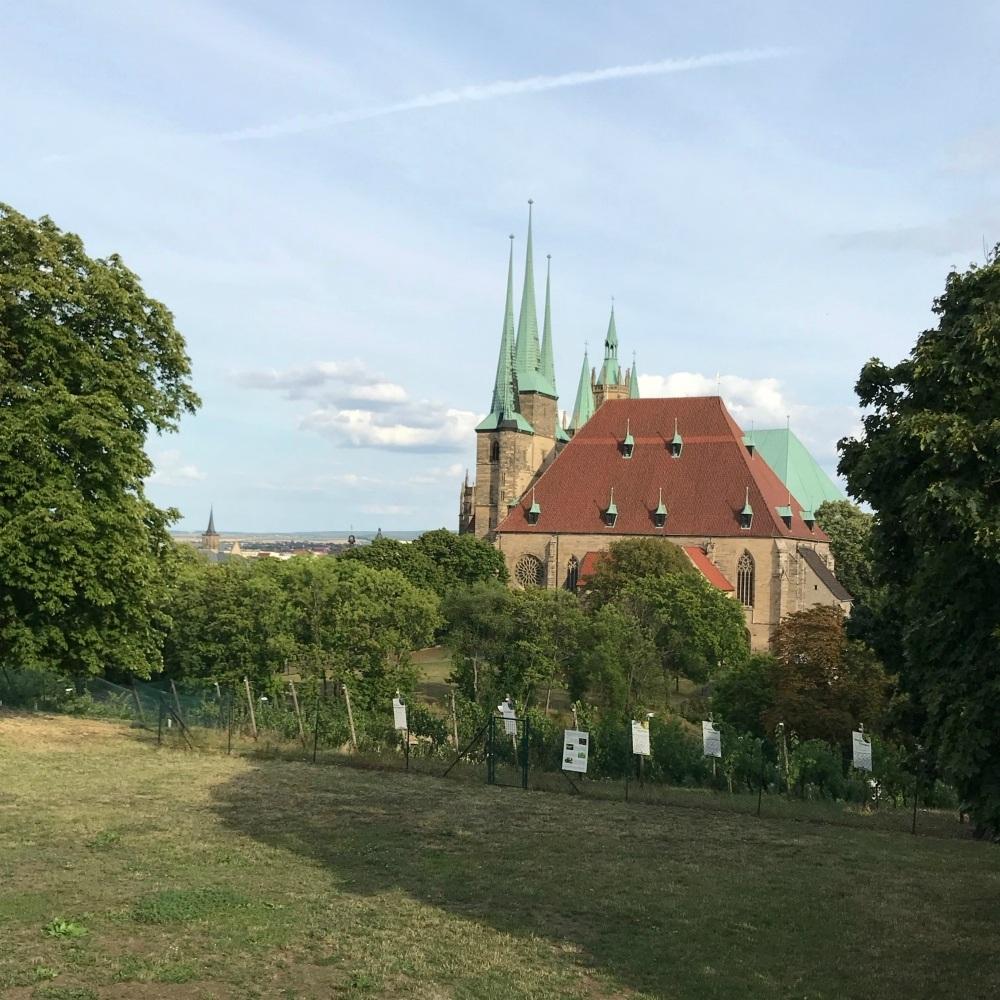View of cathedral from Petersburg Citadel in Erfurt Photo Heatheronhertravels.com