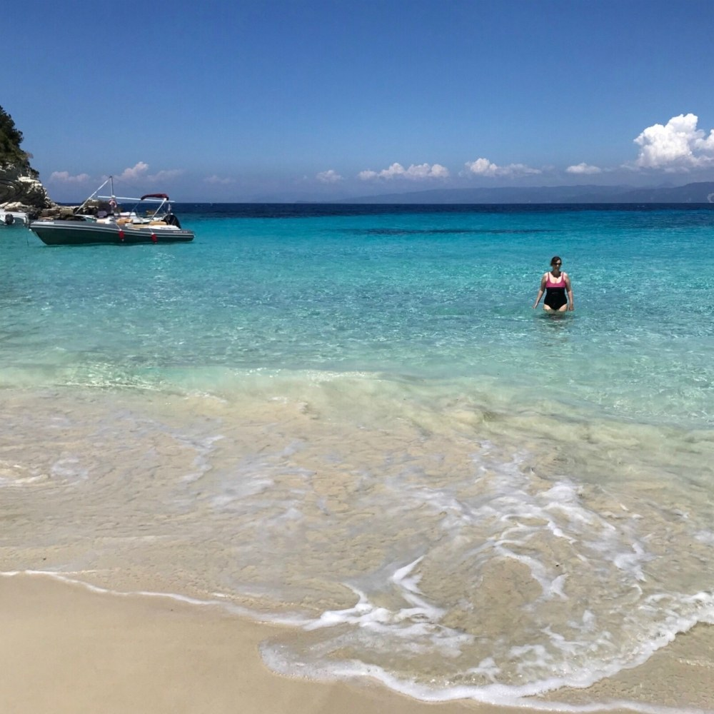 Vrika beach for swimming in Antipaxos Photo Heatheronhertravels.com
