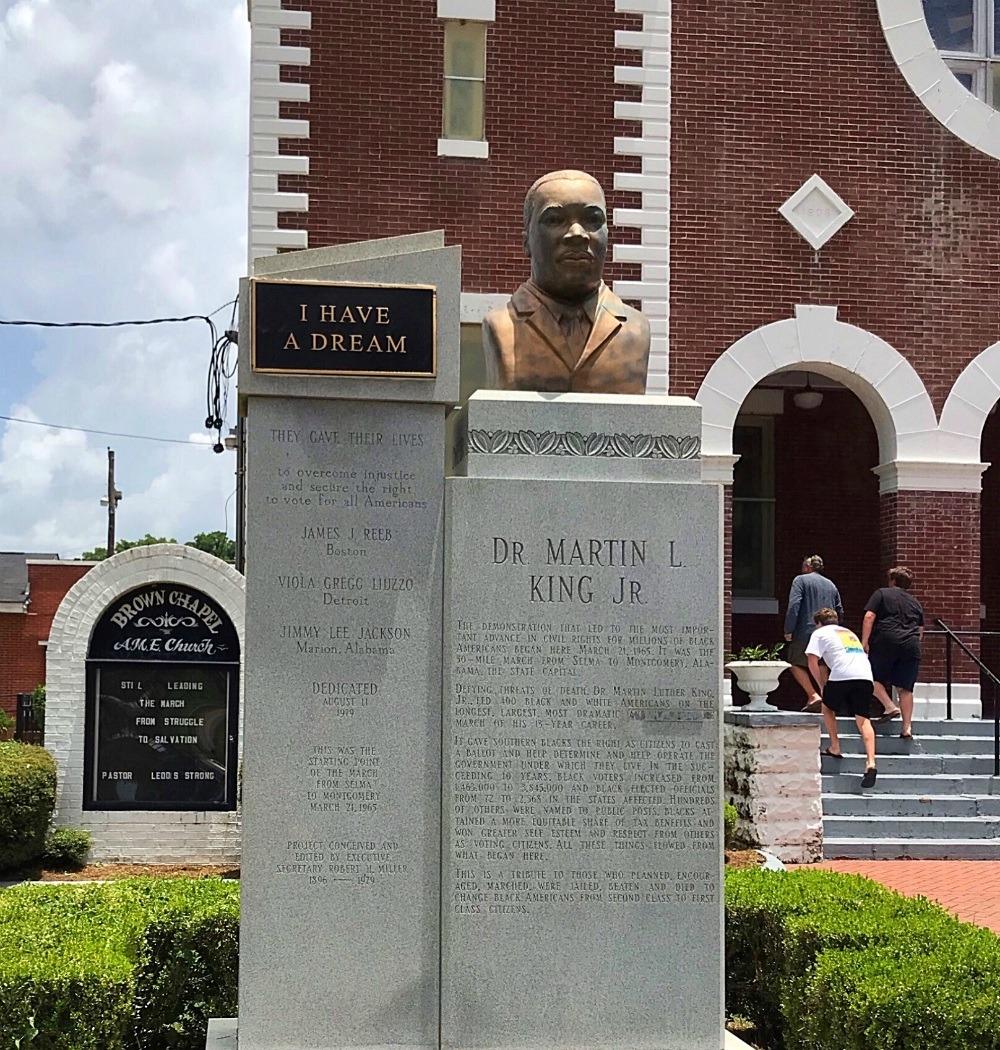 Martin Luther King Statue at Selma Brown Chapel AME Church Photo Heatheronhertravels.com