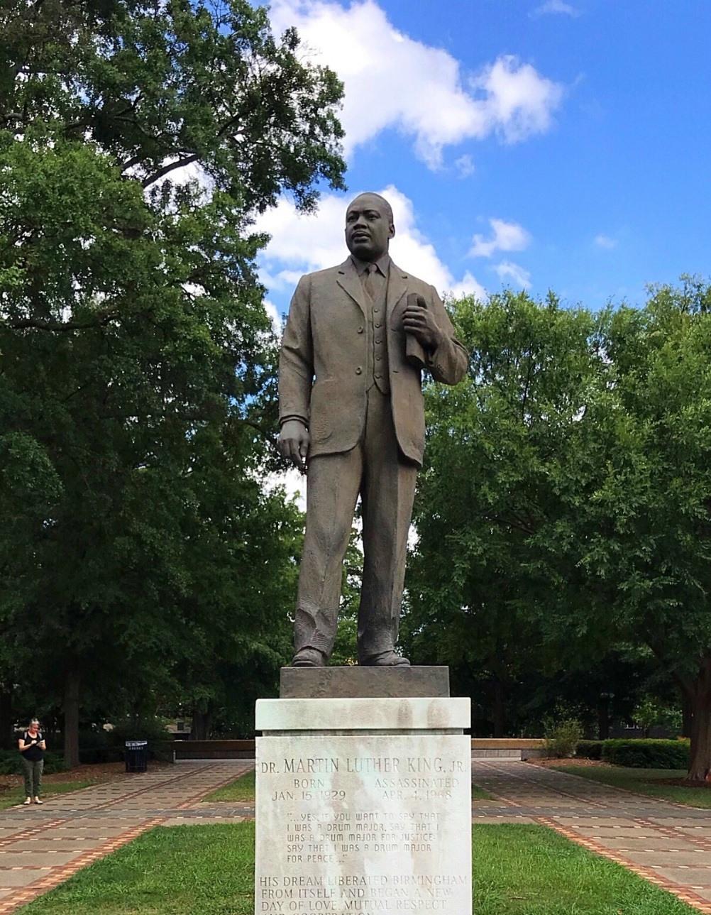 Martin Luther King statue in Kelly Ingram park Birmingham Alabama Photo Heatheronhertravels.com
