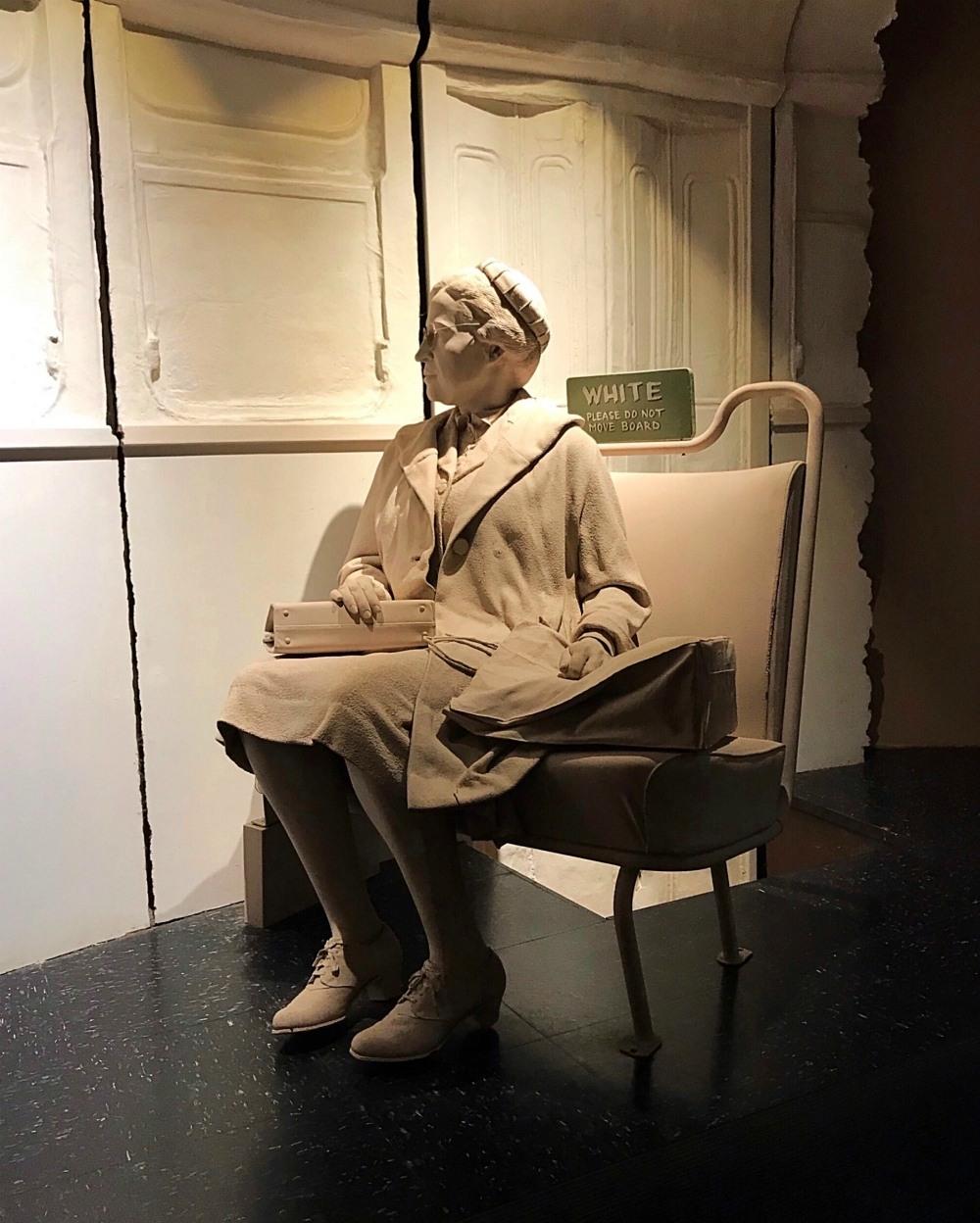Rosa Parks statue at Birmingham Civil Rights Institute in Alabama Photo Heatheronhertravels.com
