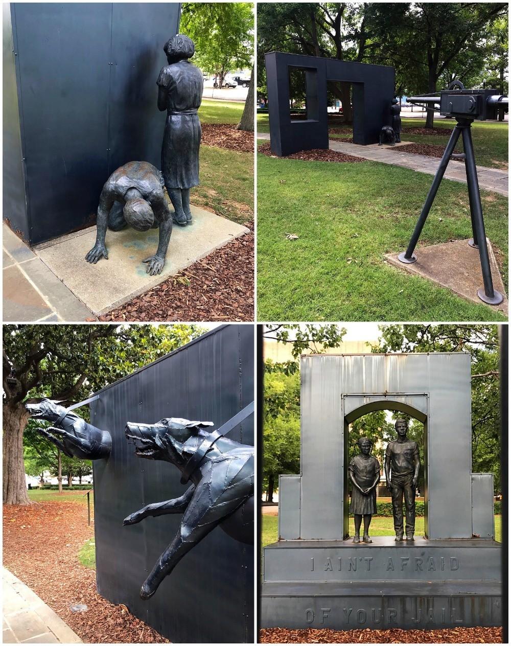 Sculptures in Kelly Ingram park Birmingham Alabama Photo Heatheronhertravels.com