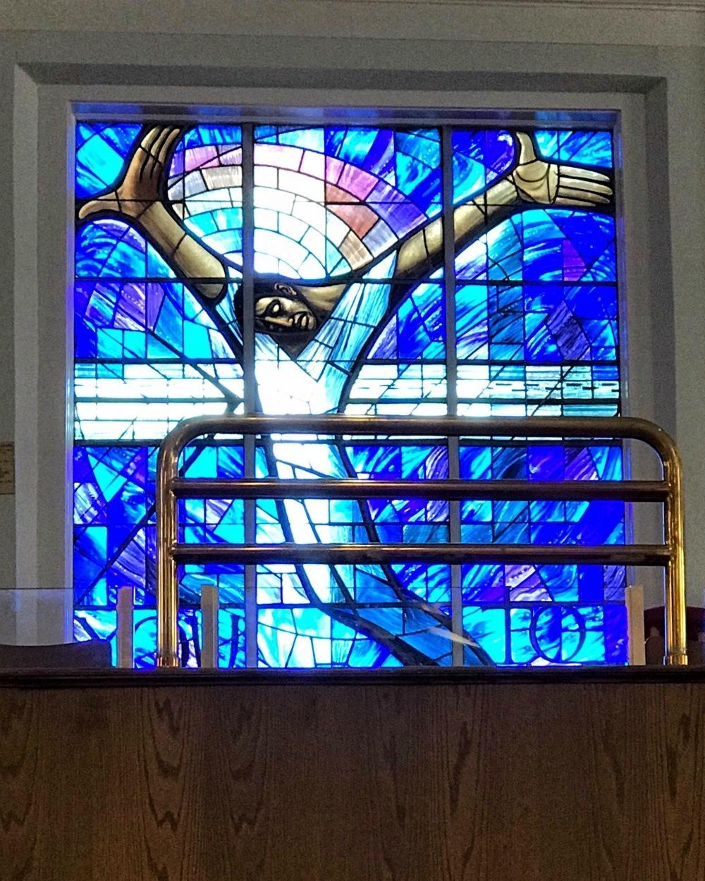 Stained glass window in 16th St Baptist Church, Birmingham, Alabama Photo Heatheronhertravels.com