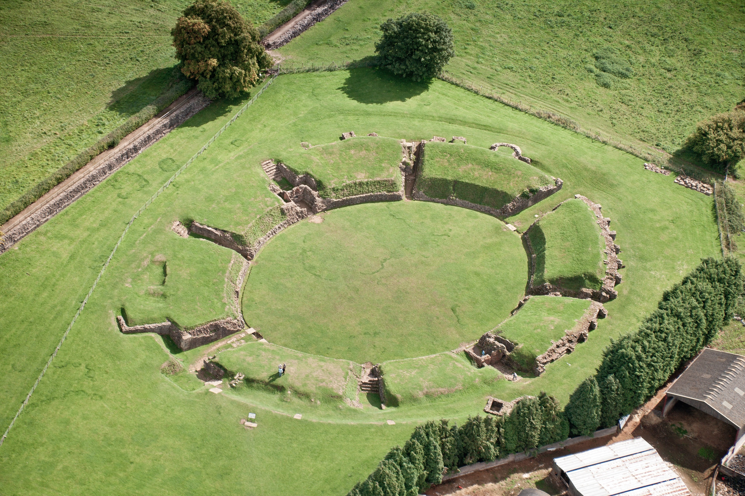 Aerial view from the north west Caerleon Amphitheatre Cadw Sites SAMN: MM232 NGR: ST338903 Newport South Amphitheatres Roman Recreational Historic Sites Marketing