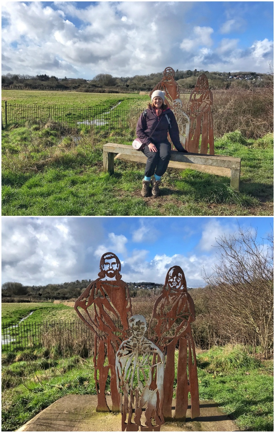 Sculptures on the River Usk path Newport Photo Heatheronhertravels.com