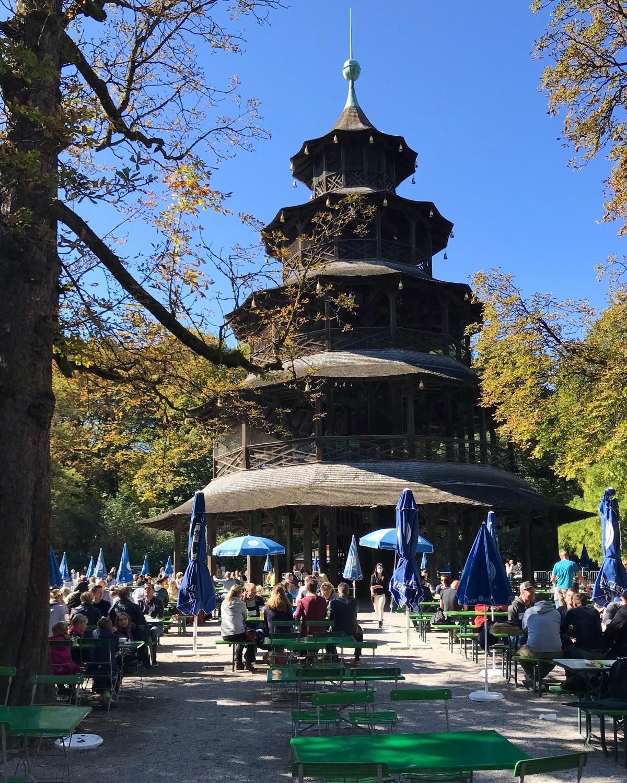 Chinesischer Turm in Englischer Garten in Munich, Germany