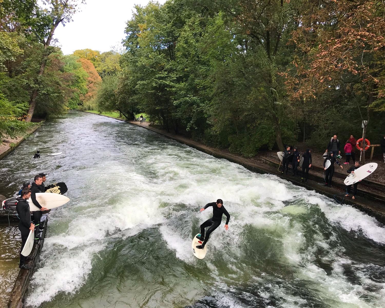 Surfers on the Eisenach in Munich, Germany