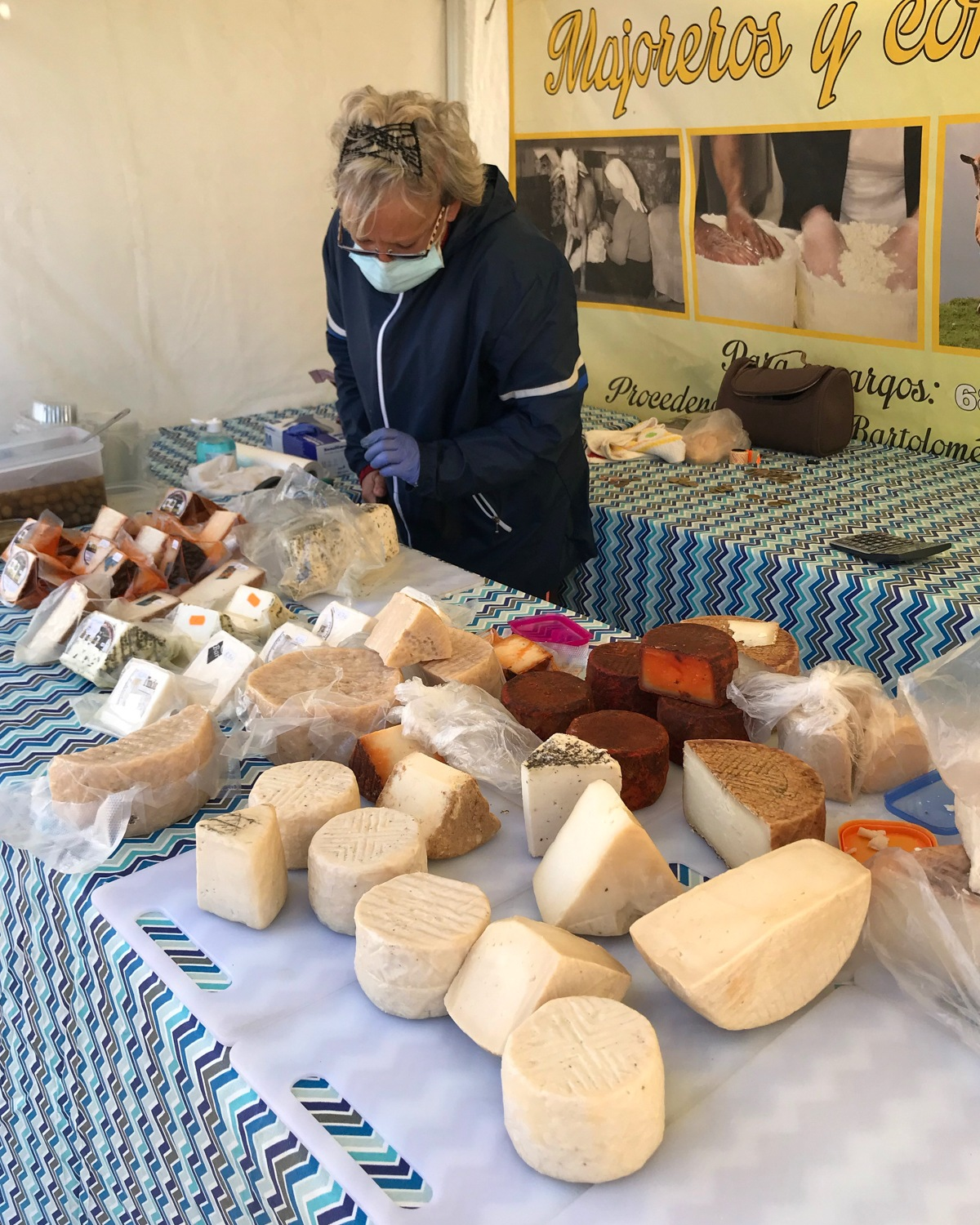 Goats cheese in the market at Teguise Photo Heatheronhertravels.com
