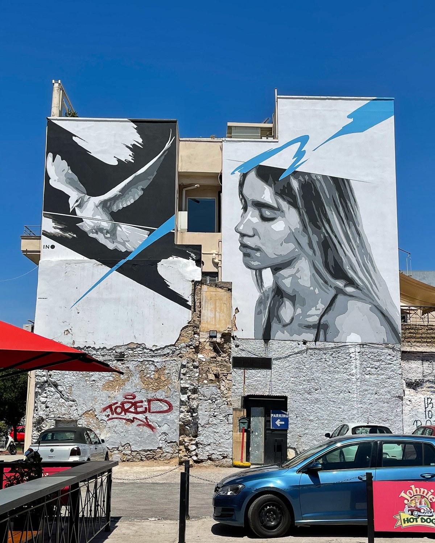 Mural by INO in Gazi, Athens Photo Heatheronhertravels.com
