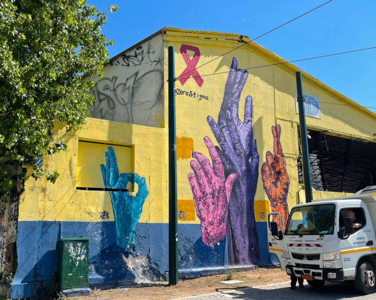 Mural by Kez in Gazi for International Aids Say Photo: Heatheronhertravels.com