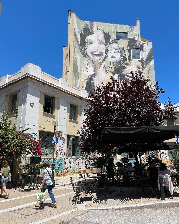 Mural in Hero's Square, Psiri Athens by Vasmou Photo: Heatheronhertravels.com