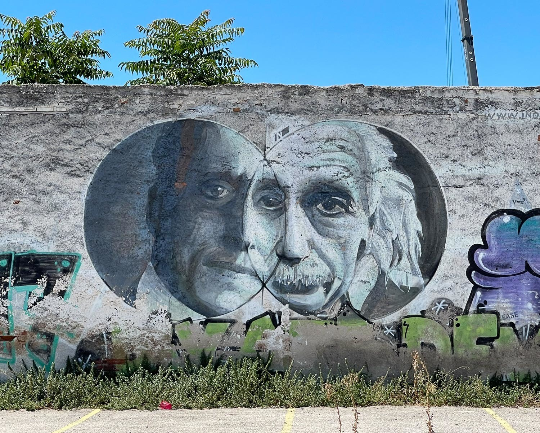 Mural of Caratheodory and Einstein by INO in Gazi, Athens - Photo Heatheronhertravels.com