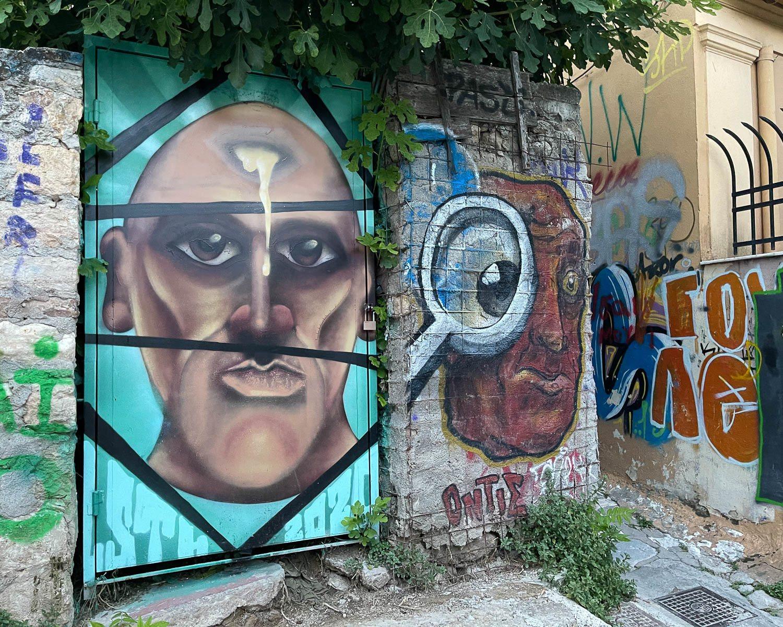 Streetart in Anafiotika Athens - Photo Heatheronhertravels.com